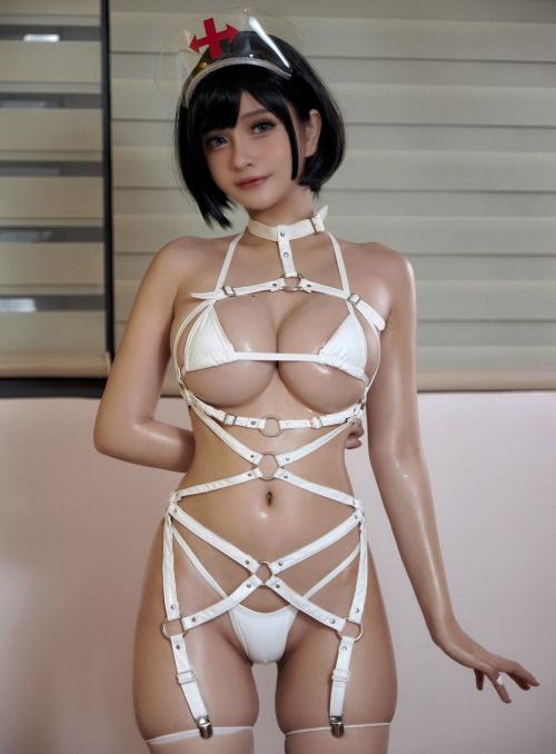 Azami - White Harness Nurse cosplay 10