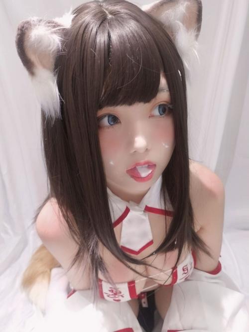 蜜汁猫裘 眼帯エロビキニ巫女 コスプレ 34