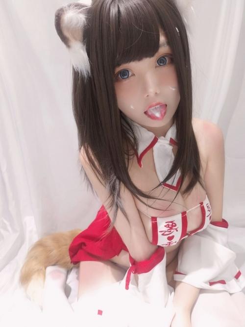 蜜汁猫裘 眼帯エロビキニ巫女 コスプレ 36