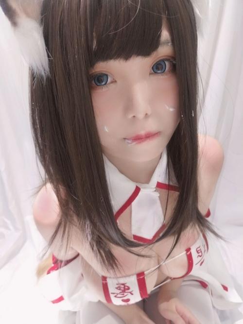 蜜汁猫裘 眼帯エロビキニ巫女 コスプレ 37