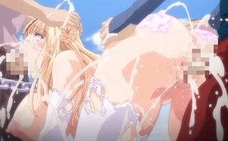 「うぐぐっ‥ぐえぇぇっ」首輪で拘束された巨乳美女が3Pファックで射精三昧!