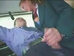 綺麗な外人JKに電車内で逆痴xされ