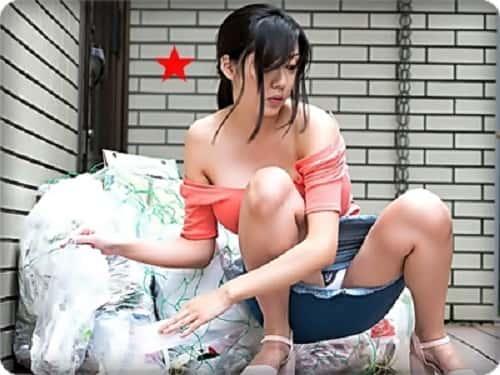 【無・仲間あずみ】【中出し】ノーブラでゴミ出ししちゃう巨乳パンチラ奥さん