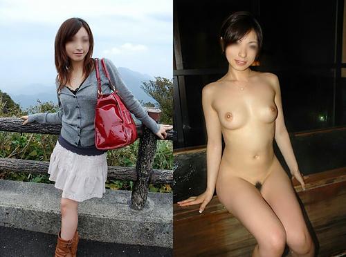 素人娘たちの着衣状態とヌード写真を並べて比較するとエロさ倍増