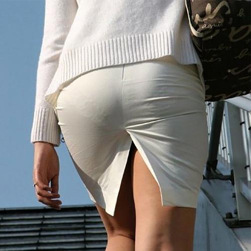 タイトスカートがパツパツで透けパンしまくりの素人女性たちを街撮り