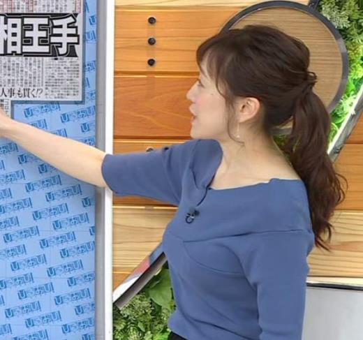 江藤愛アナ 横乳キャプ画像(エロ・アイコラ画像)