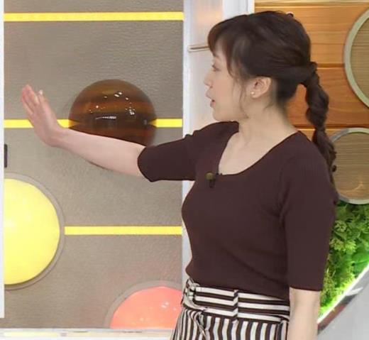 江藤愛アナ ニットおっぱいキャプ画像(エロ・アイコラ画像)