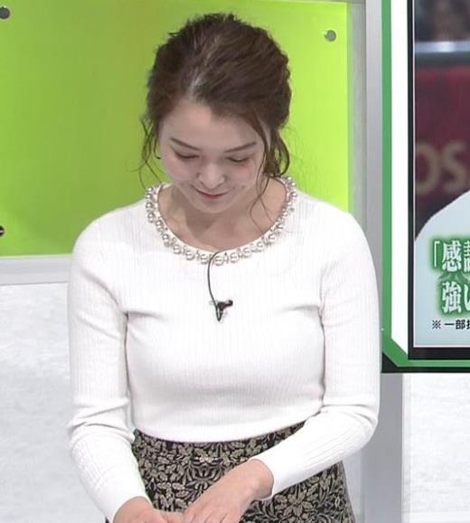 福田典子アナ ニットおっぱいキャプ画像(エロ・アイコラ画像)