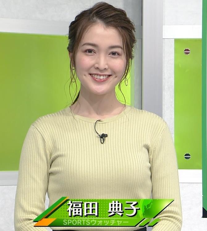 福田典子アナ おっぱいが際立つニットキャプ・エロ画像