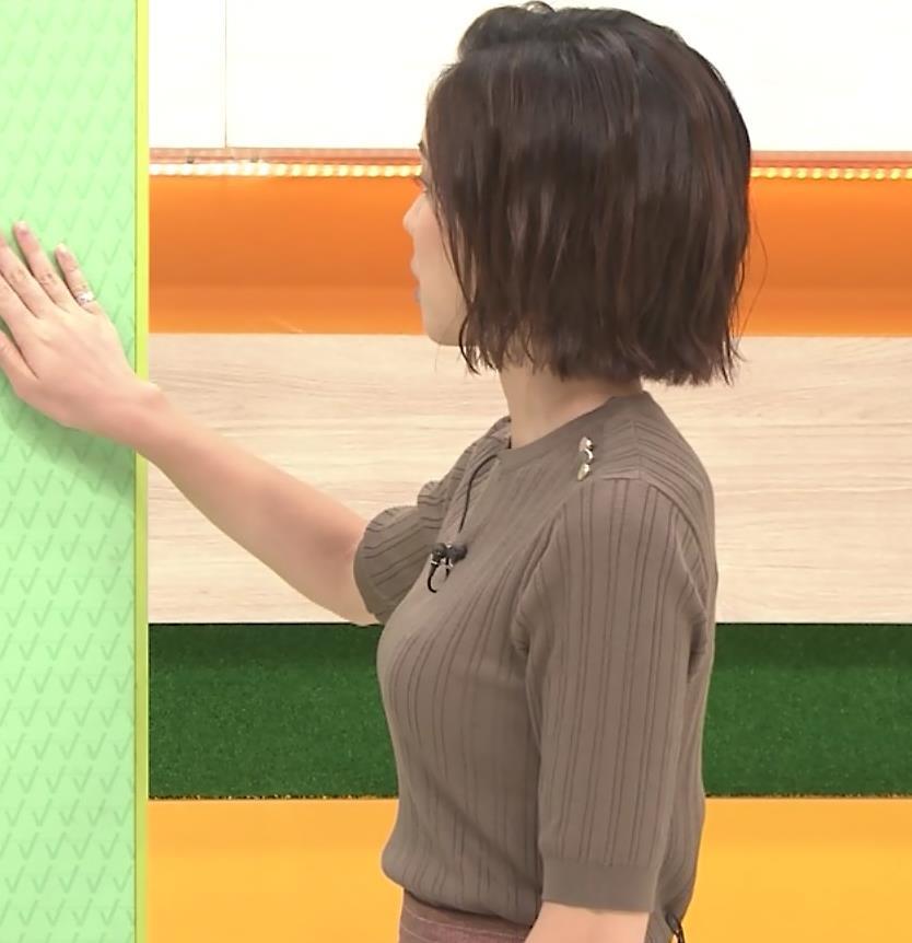 ヒロド歩美アナ 細身ニットのおっぱいキャプ・エロ画像