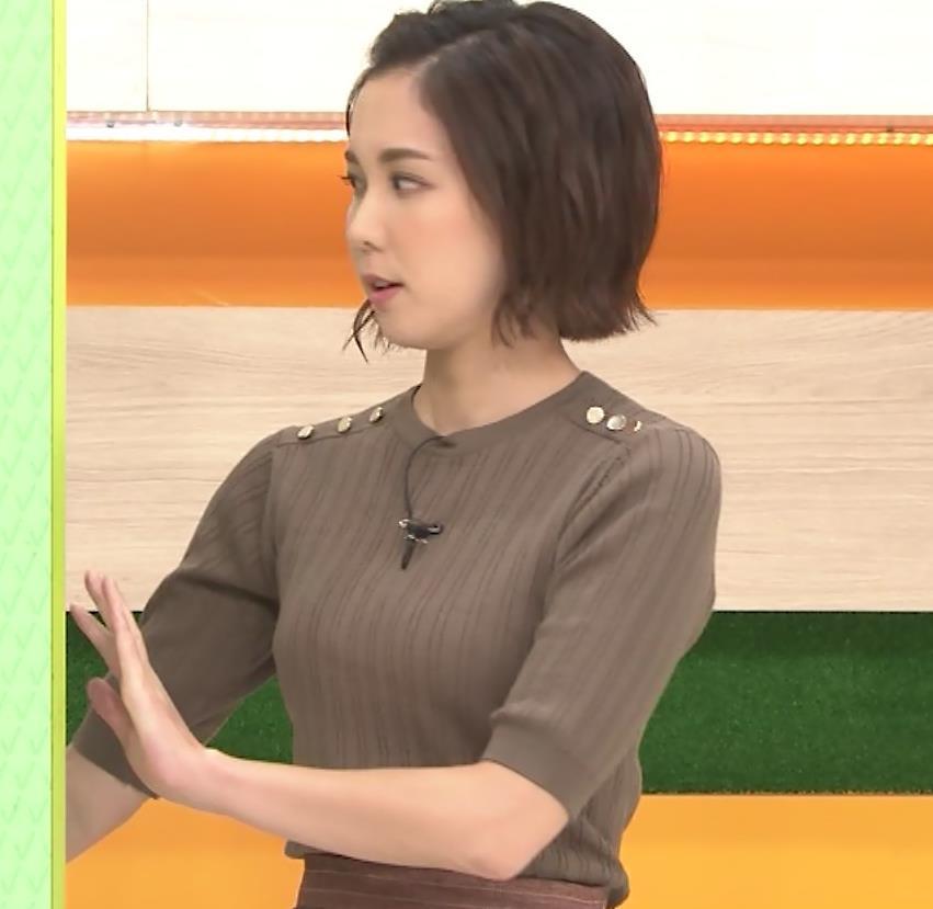 ヒロド歩美アナ 細身ニットのおっぱいキャプ・エロ画像2