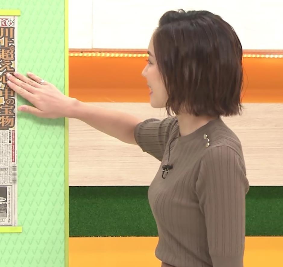 ヒロド歩美アナ 細身ニットのおっぱいキャプ・エロ画像3