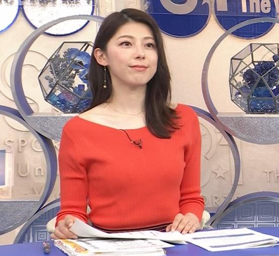 上村彩子アナ 鎖骨露出ニットキャプ・エロ画像