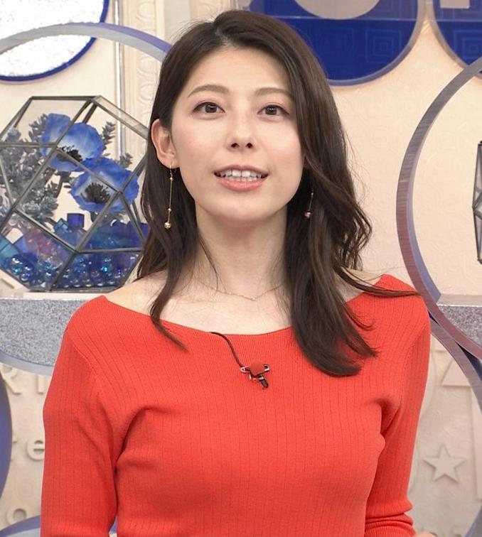 上村彩子アナ 鎖骨露出ニットキャプ・エロ画像5