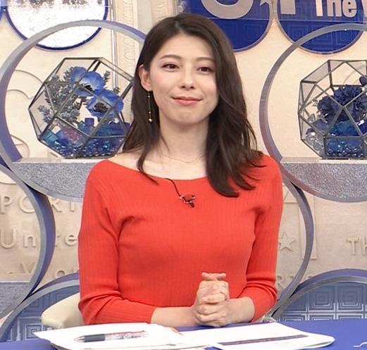 上村彩子アナ 鎖骨露出ニットキャプ・エロ画像7