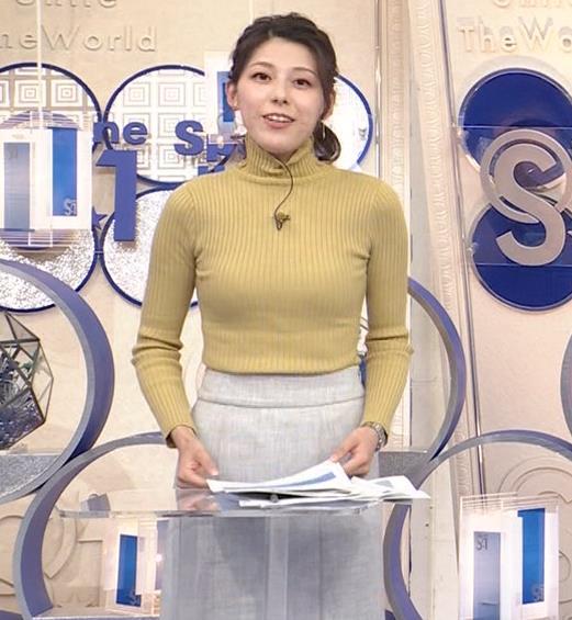 村上彩子アナ タイトなニットキャプ・エロ画像