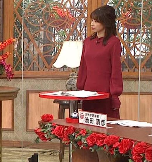加藤綾子 ワインレッドのニットキャプ・エロ画像6