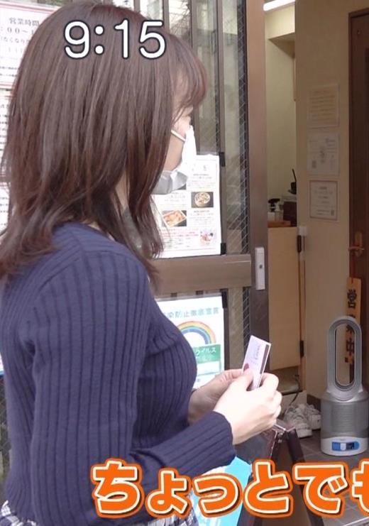 河出奈都美アナ ニット横乳のアップ画像キャプ画像(エロ・アイコラ画像)