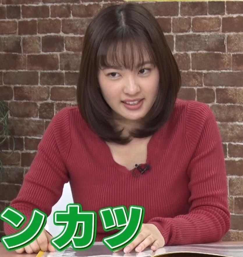 河出奈都美アナ ニットで巨乳が目立つキャプ・エロ画像2