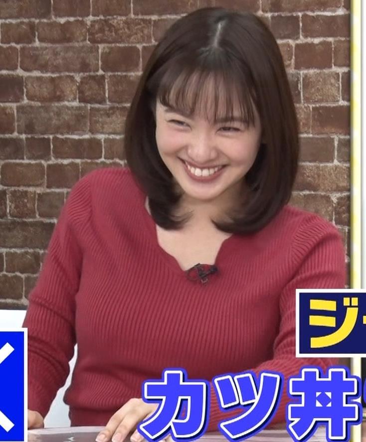 河出奈都美アナ ニットで巨乳が目立つキャプ・エロ画像3