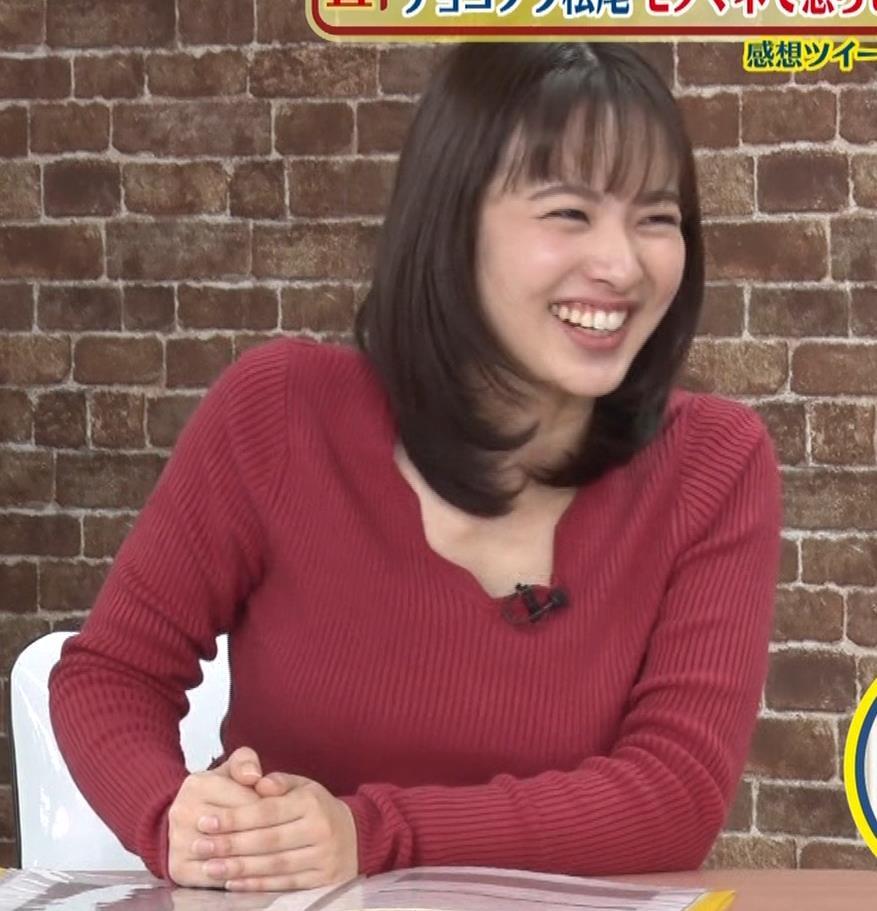 河出奈都美アナ ニットで巨乳が目立つキャプ・エロ画像5