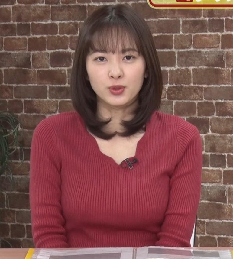 河出奈都美アナ ニットで巨乳が目立つキャプ・エロ画像6