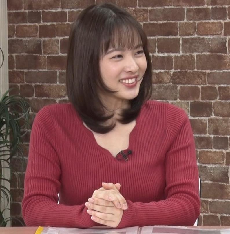 河出奈都美アナ ニットで巨乳が目立つキャプ・エロ画像8