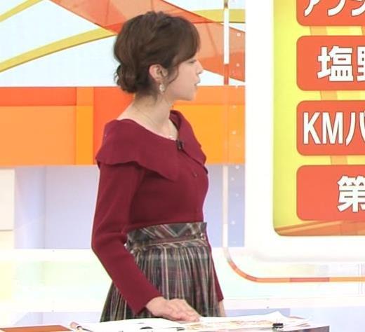久慈暁子アナ ニット横乳キャプ画像(エロ・アイコラ画像)