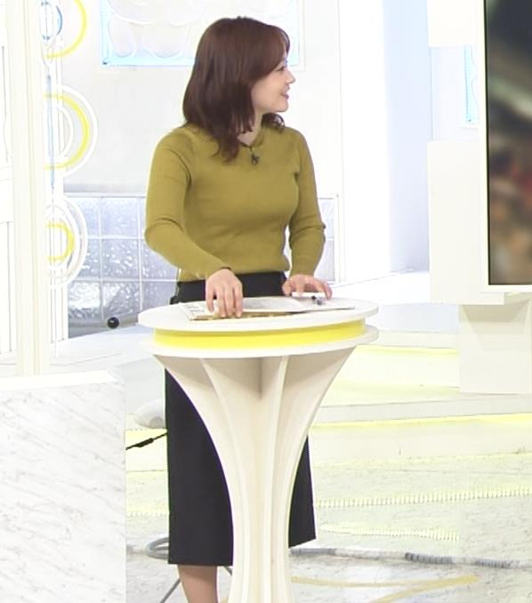 水卜麻美アナ ピチピチニットのおっぱいキャプ・エロ画像