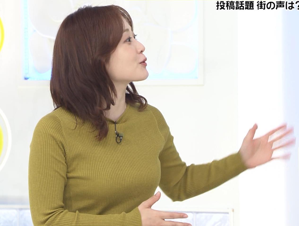 水卜麻美アナ ピチピチニットのおっぱいキャプ・エロ画像3