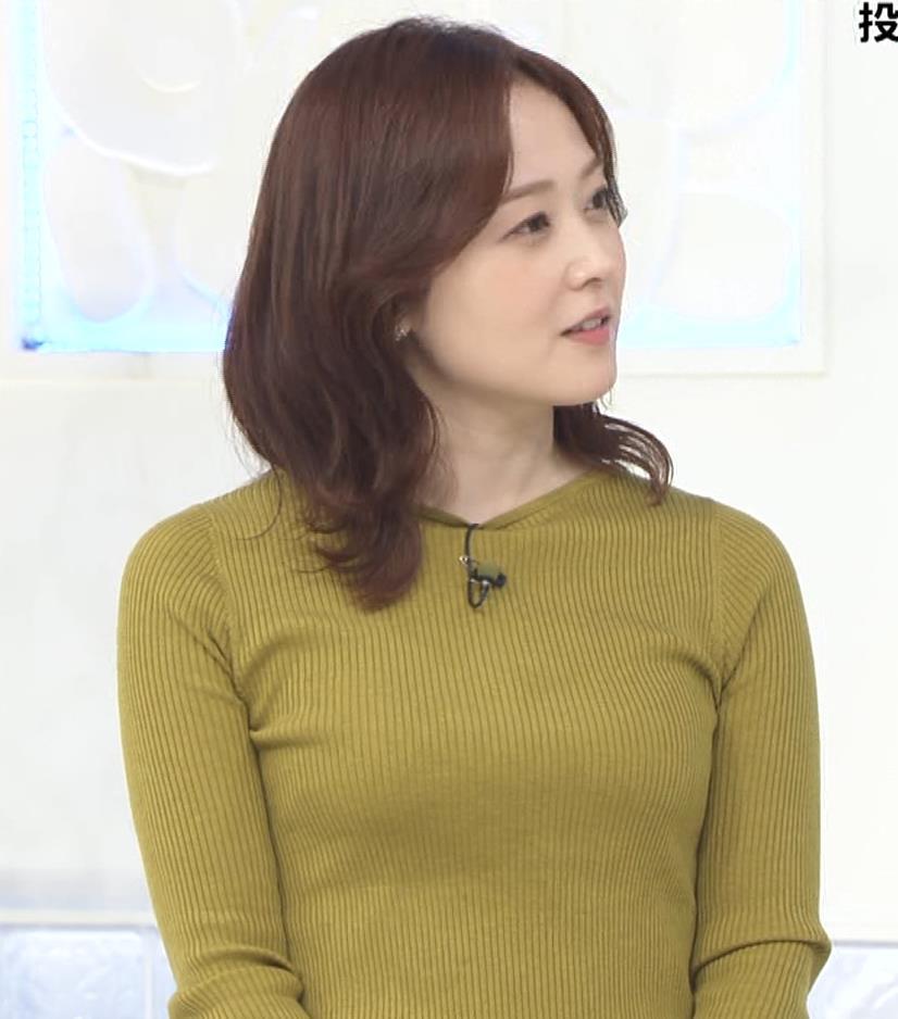 水卜麻美アナ ピチピチニットのおっぱいキャプ・エロ画像7