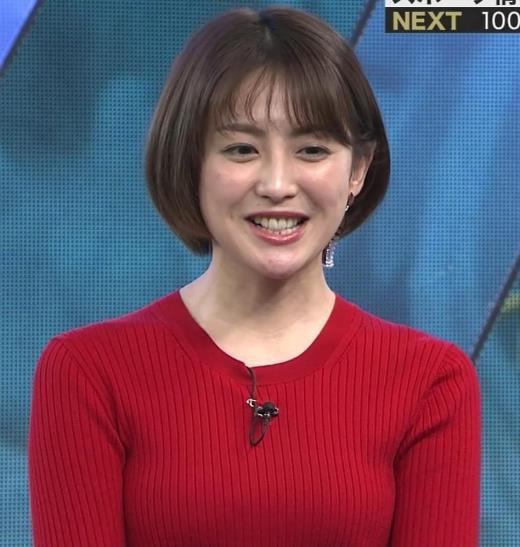 宮司愛海アナ 赤ニットのおっぱいキャプ画像(エロ・アイコラ画像)