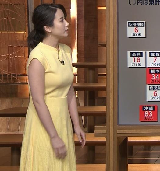 森川夕貴アナ おっぱいが強調されるワンピースキャプ・エロ画像