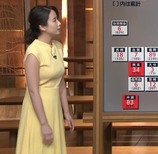 森川夕貴アナ おっぱいが強調されるワンピースキャプ・エロ画像4