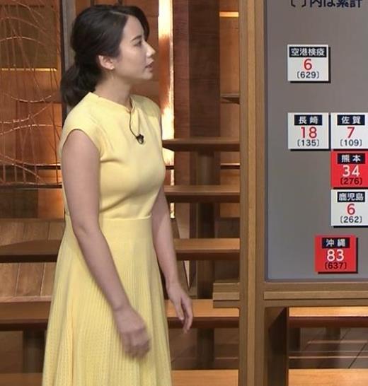 森川夕貴アナ おっぱいが強調されるワンピースキャプ画像(エロ・アイコラ画像)