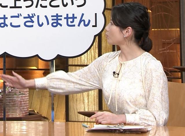 森川夕貴アナ 巨乳がわかる横乳キャプ・エロ画像