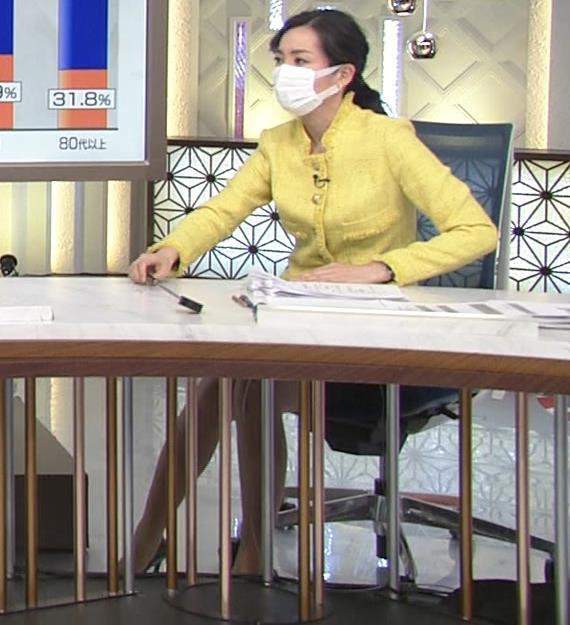 大江麻理子アナ 机の下のミニスカ美脚キャプ・エロ画像