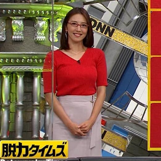 小澤陽子アナ 赤ニットのおっぱいキャプ・エロ画像3
