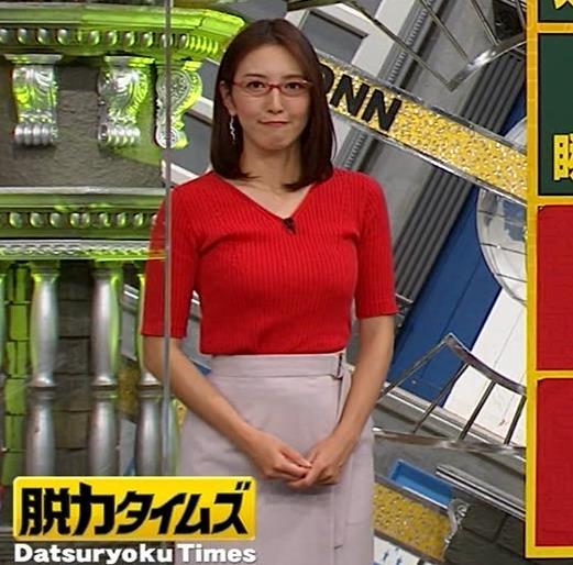 小澤陽子アナ 赤ニットのおっぱいキャプ・エロ画像4