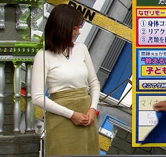 小澤陽子アナ 白ニットのおっぱいキャプ・エロ画像4