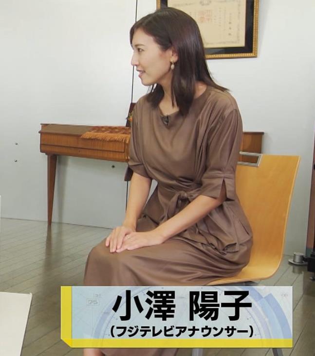 小澤陽子アナ 茶色のワンピースキャプ・エロ画像