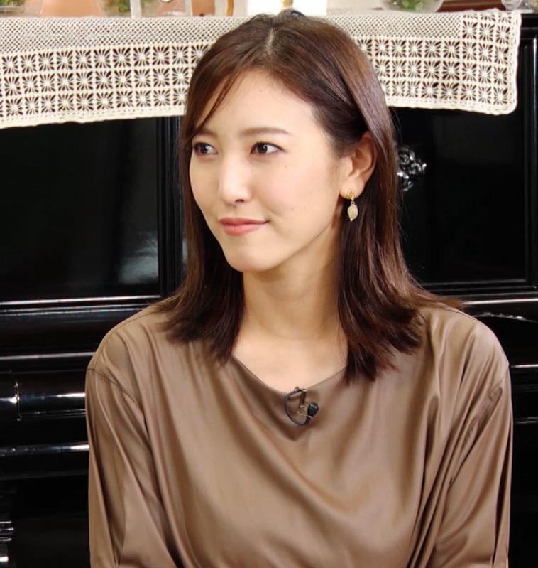 小澤陽子アナ 茶色のワンピースキャプ・エロ画像2