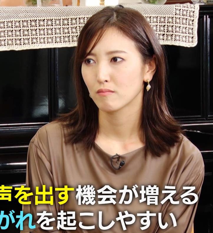 小澤陽子アナ 茶色のワンピースキャプ・エロ画像6
