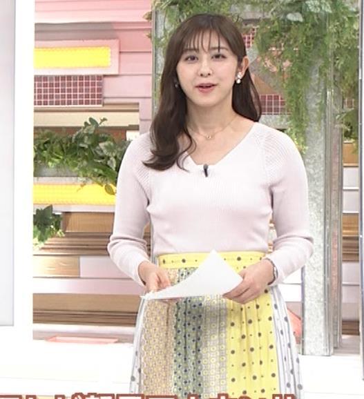 斎藤ちはるアナ 前かがみでちょっと胸元チラキャプ・エロ画像