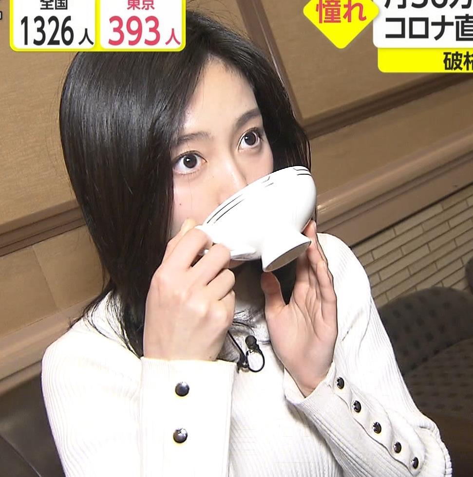 佐久間みなみアナ ニットおっぱい横乳キャプ・エロ画像