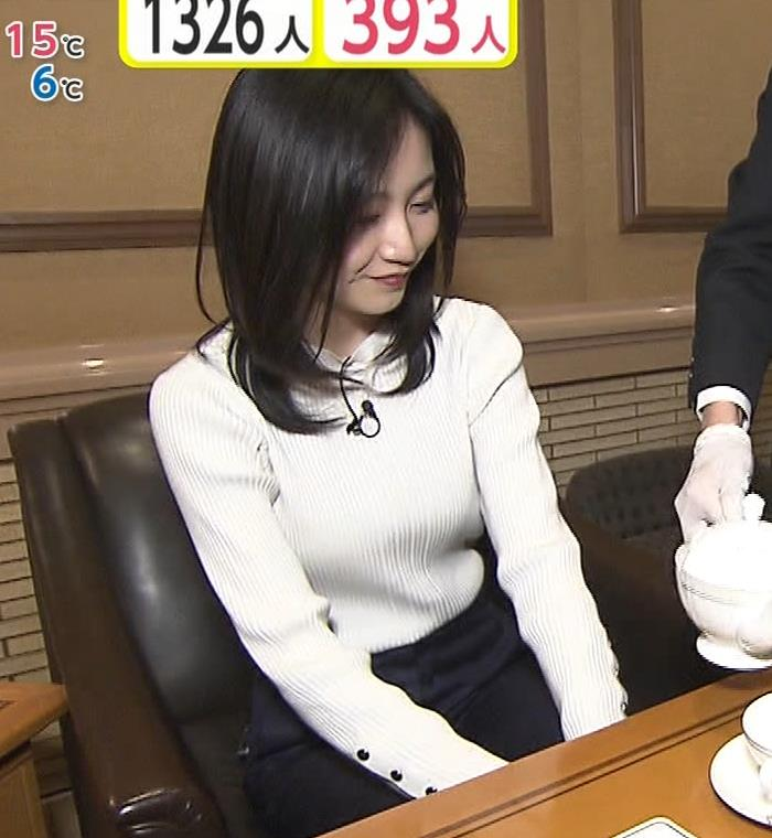 佐久間みなみアナ ニットおっぱい横乳キャプ・エロ画像3