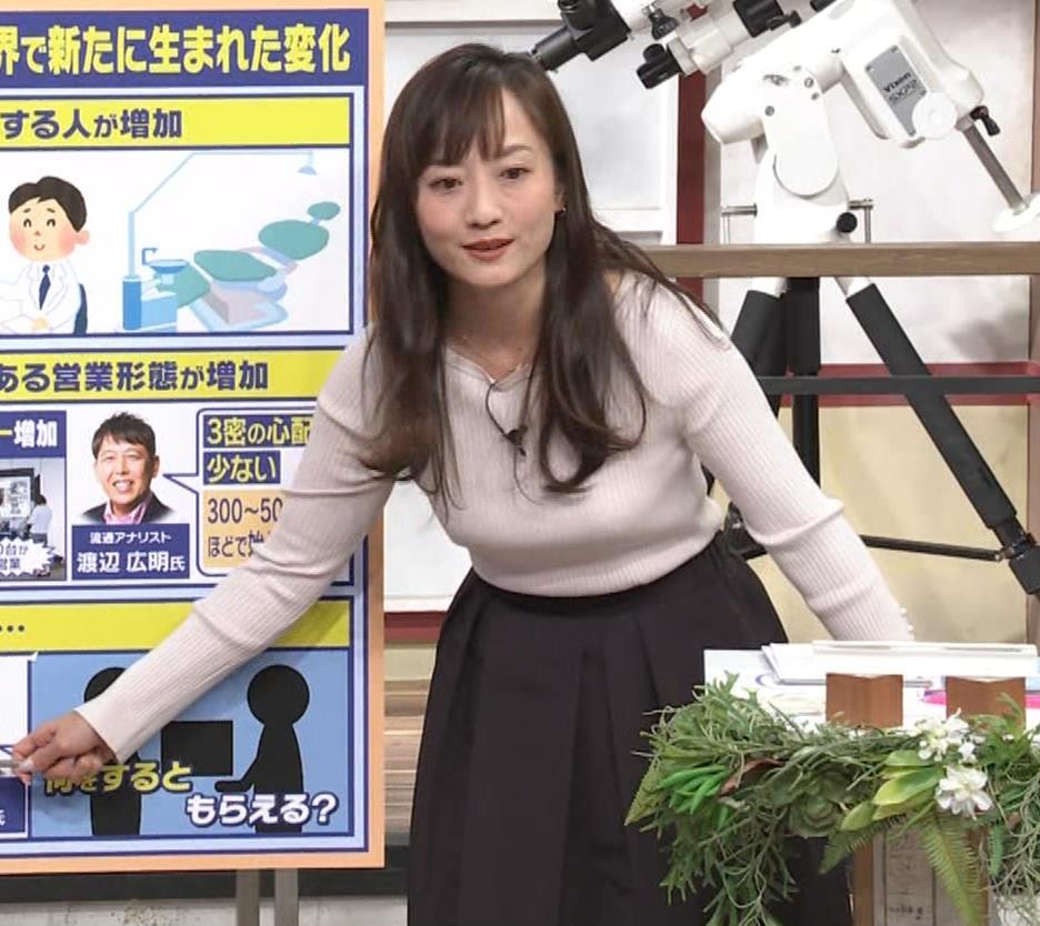 島本真衣アナ ニット巨乳キャプ・エロ画像3