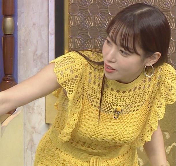 鷲見玲奈 巨乳が際立つ網々衣装キャプ・エロ画像5