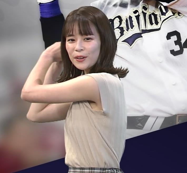 鈴木唯アナ ノースリーブ・ワキちらキャプ・エロ画像3