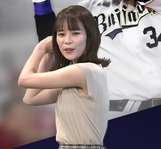 鈴木唯アナ ノースリーブ・ワキちらキャプ画像(エロ・アイコラ画像)